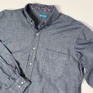 J. McLaughlin chambray linen button down shirt L